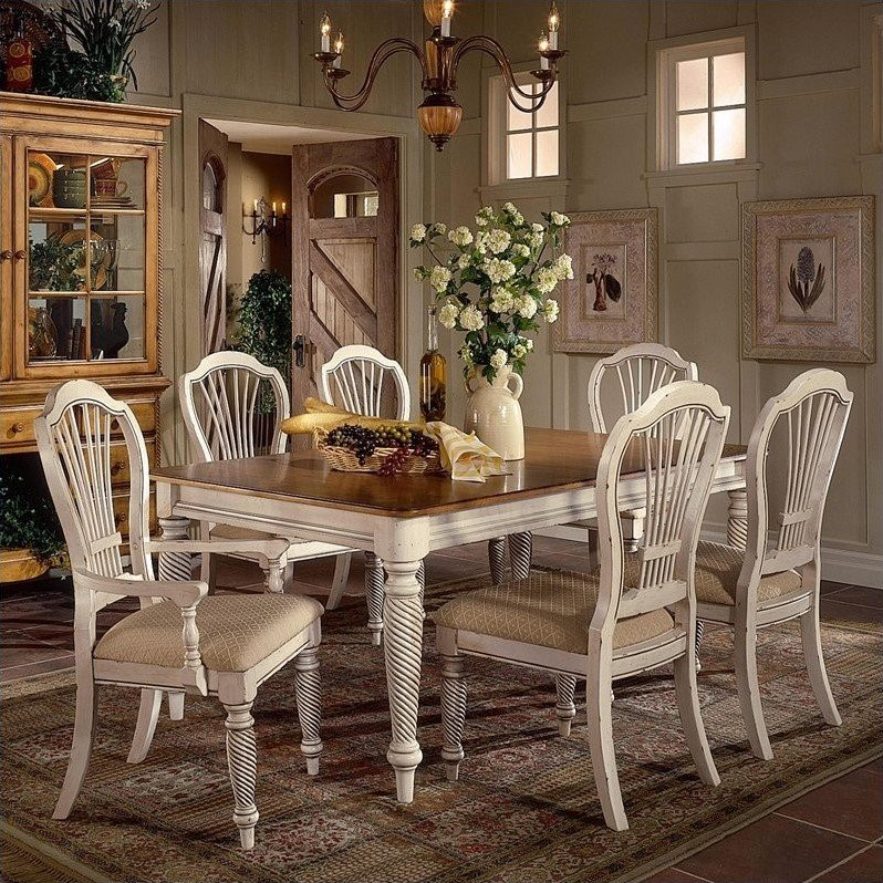 Hillsdale Wilshire 7 Piece Rectangular Dining Table Set in White