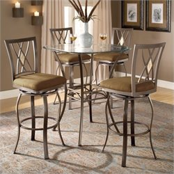 Hillsdale Brookside 5 Piece Bar Height Bistro Table Set with Diamond Stools