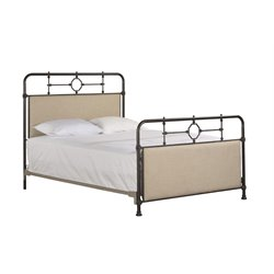 Hillsdale Lindley Upholstered Metal Spindle Bed in Old Black