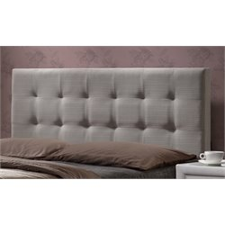 Hillsdale Duggan Upholstered Panel Headboard in Light Gray with Frame