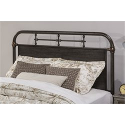 Hillsdale Logan Metal Spindle Panel Headboard in Rubbed Black w/o Frame