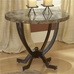 Hillsdale Monaco Metal Base End Table with Faux Marble Top