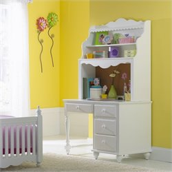 Hillsdale Lauren Children's Wood Desk with Hutch in White