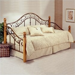 Hillsdale San Marco Wood and Metal Post Daybed in Rust Pine Finish with Pop-Up Trundle