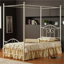 Hillsdale Westfield Metal Canopy Bed 5 Piece Bedroom Set in Off White