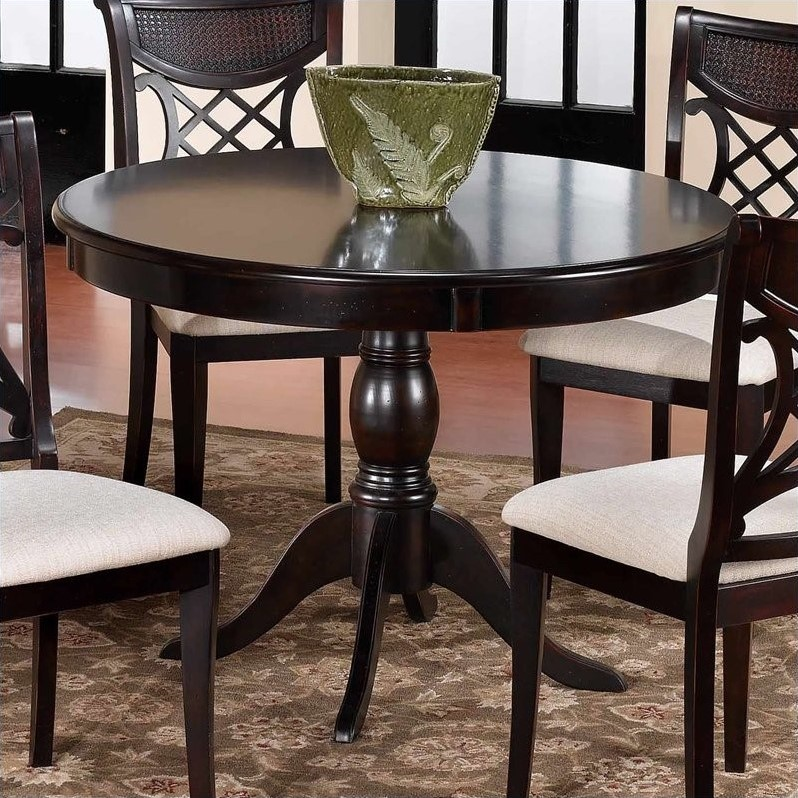 hillsdale glenmary round casual dining table in dark. Black Bedroom Furniture Sets. Home Design Ideas