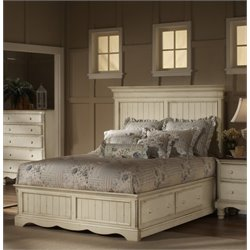 Hillsdale Wilshire Storage Panel Bed in Antique White