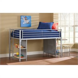 Hillsdale Universal Junior Bookcase Loft Bed with Desk and Stool in Silver
