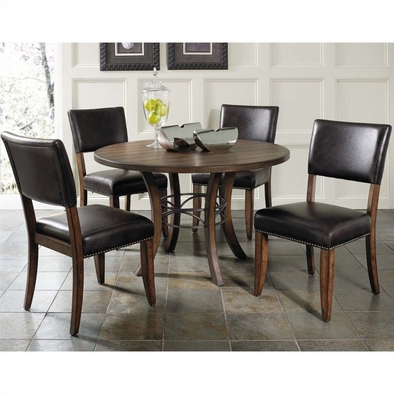 Hillsdale Cameron 5 Piece Round Wood Dining Set with Parson Chairs