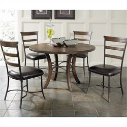 Hillsdale Cameron 5 Piece Round Wood Dining Set w/ Ladder Back Chairs