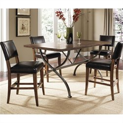 Hillsdale Cameron Counter Height Wood Dining Set w/ Parson Stools