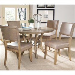 Hillsdale Charleston 5 Piece Round Wood Dining Set with Parson Chairs