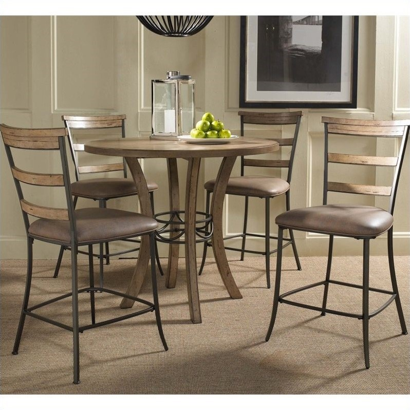 Hillsdale Charleston 5 Pc Counter Round Wood Pub Set w/ Ladder Stools