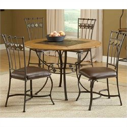 Hillsdale Lakeview 5 Piece Round Dining Set with Slate Chairs in Brown