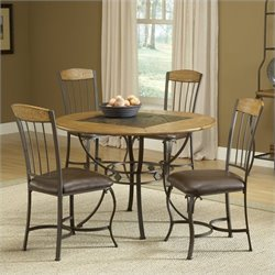 Hillsdale Lakeview 5 Piece Round Dining Set with Wood Chairs in Brown
