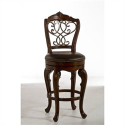 Hillsdale Burrell Swivel Stool in Brown Cherry and Old Steel