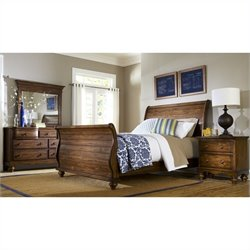 Hillsdale Hamptons 4 Piece Bedroom Set in Dark Pine Finish