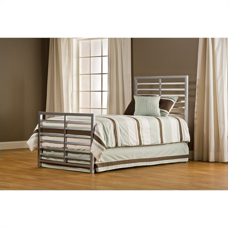 Hillsdale Latimore Twin Bed in Mirror Silver