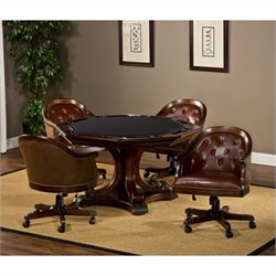 Hillsdale Harding 5 Piece Game Table Set in Rich Cherry