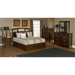 Hillsdale Metro 5 Piece Bedroom Set with Riva Storage Bed in Cherry