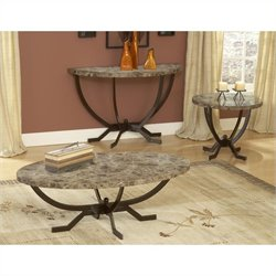 Hillsdale Monaco Faux Marble 3 Piece Coffee Table Set in Espresso