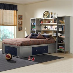 Hillsdale Universal Youth Wall Storage Bed in Navy and Silver
