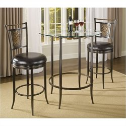 Hillsdale Parkside 3 Piece Bar Height Pub Table Set in Copper