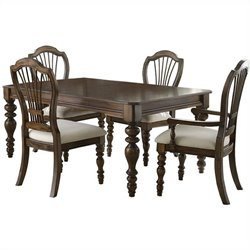 Hillsdale Pine Island Dining Set with Wheat Back Side Chairs
