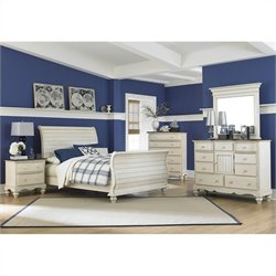 Hillsdale Pine Island Sleigh 5 PC Bedroom in Old White