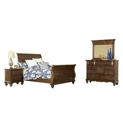 Hillsdale Pine Island Sleigh 4 PC Bedroom in Dark Pine
