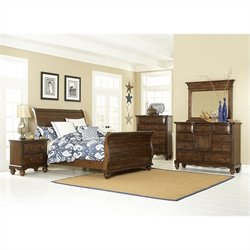 Hillsdale Pine Island Sleigh 5 PC Bedroom in Dark Pine