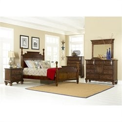 Hillsdale Pine Island Queen Post 5 Piece Bedroom in Dark Pine