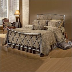 Hillsdale Silverton Metal Sleigh Bed in Brushed Silver Finish