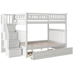 Atlantic Furniture Columbia Staircase Full over Full Bunk Bed with Trundle Bed