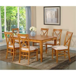 Atlantic Furniture Deco 7 Piece Dining Set in Caramel Latte