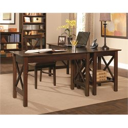 Atlantic Furniture Lexington 3 Piece Office Set in Antique Walnut
