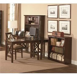 Atlantic Furniture Lexington 5 Piece Office Set in Antique Walnut