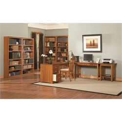 Atlantic Furniture Mission 7 Piece Office Set in Caramel Latte