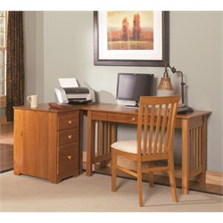 Atlantic Furniture Mission 3 Piece Office Set in Caramel Latte