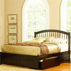 Atlantic Furniture Windsor Platform Bed in Antique Walnut