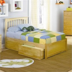 Atlantic Furniture Brooklyn Platform Bed with Flat Panel Footboard in Natural Maple