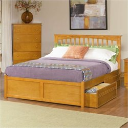 Atlantic Furniture Brooklyn Platform Bed with Flat Panel Footboard in Caramel Latte