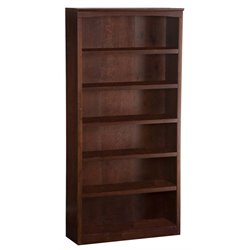 Atlantic Furniture 6 Shelf Bookcase in Antique Walnut