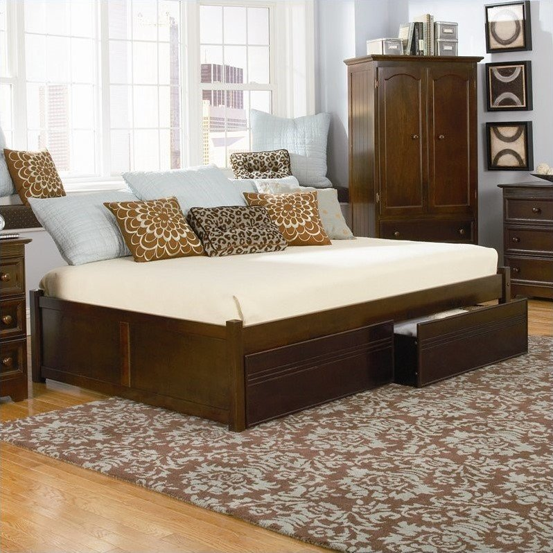 Atlantic Furniture Concord Flat Panel Wood Twin Daybed in Antique Walnut