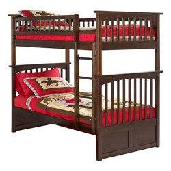 Atlantic Furniture Columbia Twin over Twin Bunk Bed in Antique Walnut