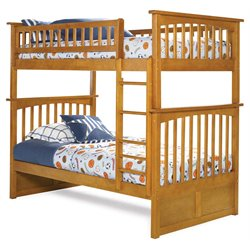 Atlantic Furniture Columbia Twin over Twin Bunk Bed in Caramel Latte