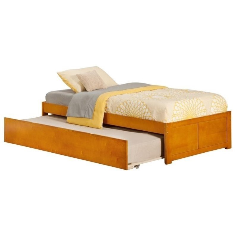 Atlantic Furniture Concord Bed With Trundle Bed In Caramel