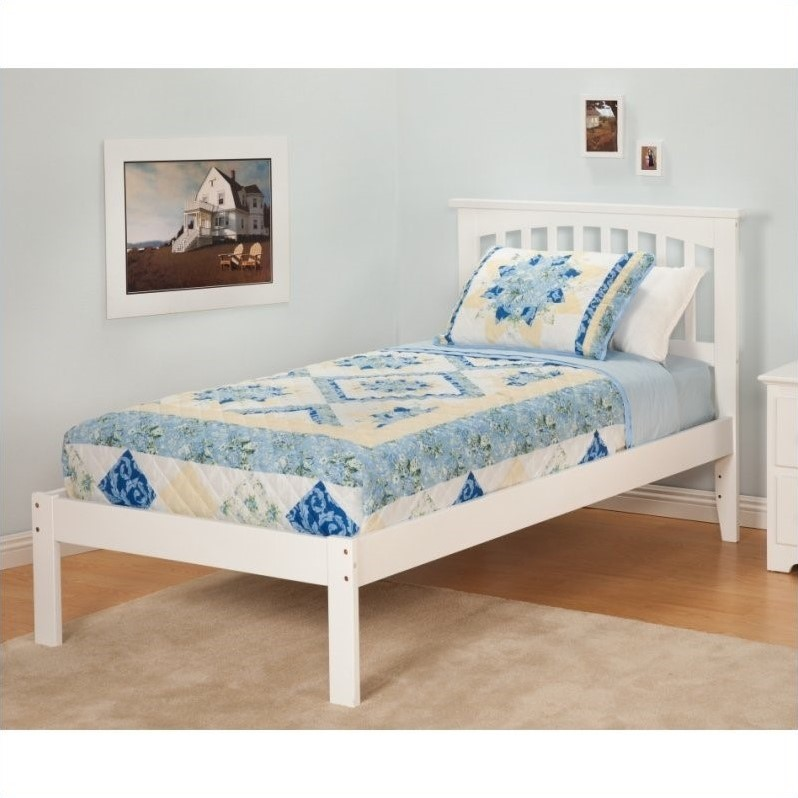Atlantic Furniture Mission Bed with Open Foot Rail in White