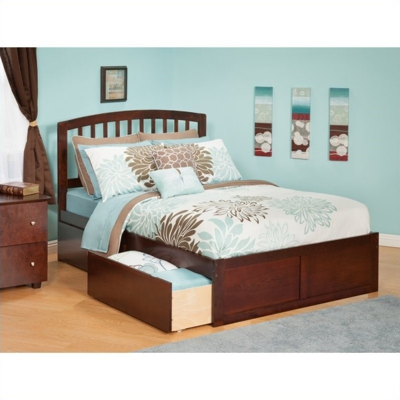 Atlantic Furniture Richmond Bed with Drawers in Antique Walnut