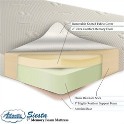 Atlantic Furniture Atlantic Siesta Memory Foam Mattress